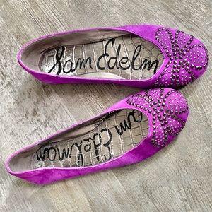 Sam Edelman Charleen studded purple flats round